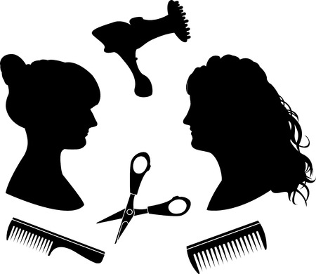 Silhouettes for a hairdressing salon Vector