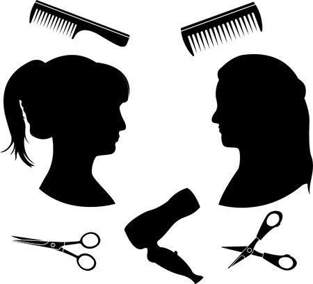 imagery: Silhouettes for a hairdressing salon