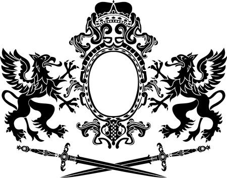 crossed swords: Grifos, armas y composici�n de espadas cruzadas