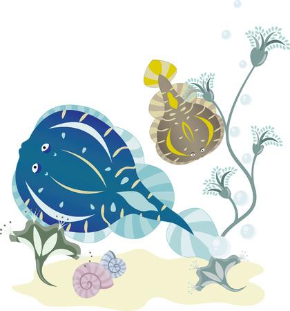 flounder: Flounder underwater world illustration for design