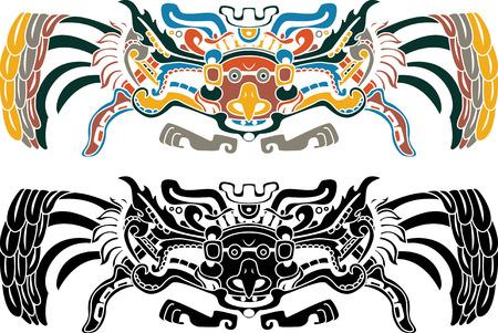 quetzalcoatl: Aztec bird stencil in two variants