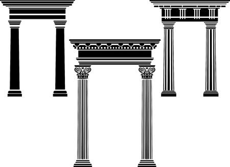 zuilen: Klassieke kolom stencil set Stock Illustratie