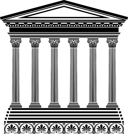 parthenon: Greek temple stencil Illustration