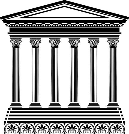 tempio greco: Stencil tempio greco Vettoriali