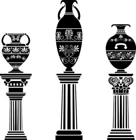 vasi greci: Antico vaso greco sulla colonna. set di stencil