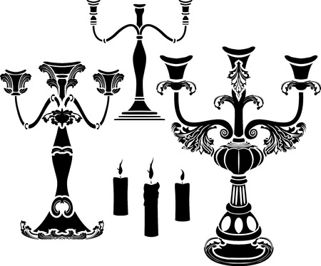Set of candelabrum,  candlestick and candle stencil Vector