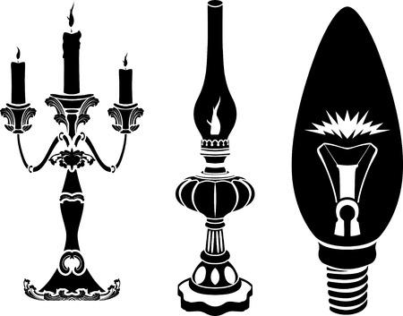 candil: Progreso de los dispositivos de alumbrado. concepto. ilustraci�n Vectores
