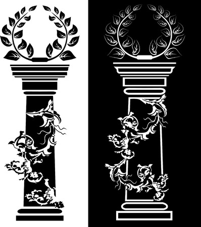 architectural elements: Column with a laurel wreath the concept a victory
