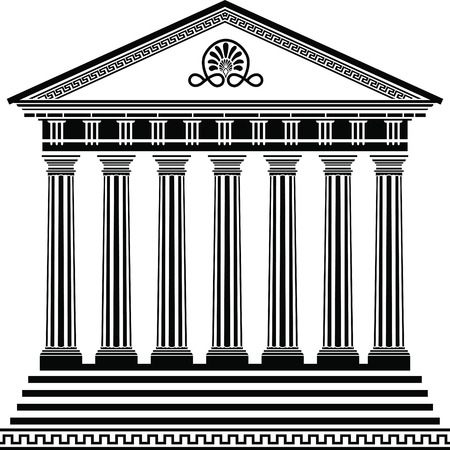 Griechischer Tempel Schablone zweite Variante Vektorgrafik