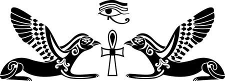 occhio di horus: stencil egiziano di horus  Vettoriali