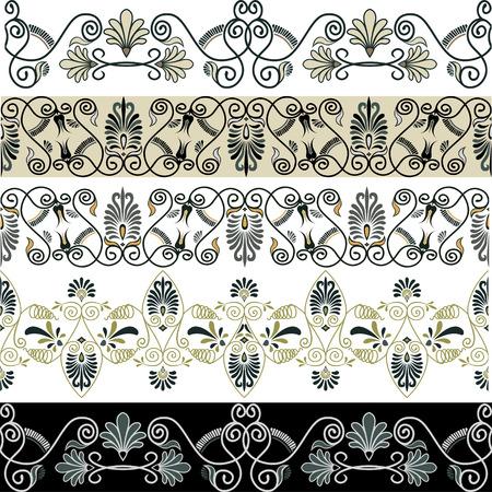 Greek patterns borders set Stock Vector - 8951765