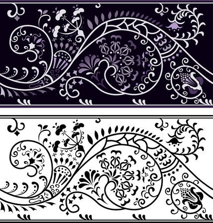 stencil: Filigree flower border, color variant and cliche Illustration