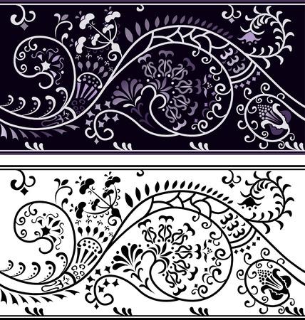 cliche: Frontera de flor de filigrana, variante de color y clich�