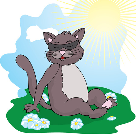 grey sky: funny cat  cat basks in the sun Illustration
