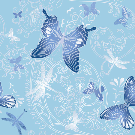 Nice spring seamless with butterfly and flower vector illustration Stock Vector - 8985347