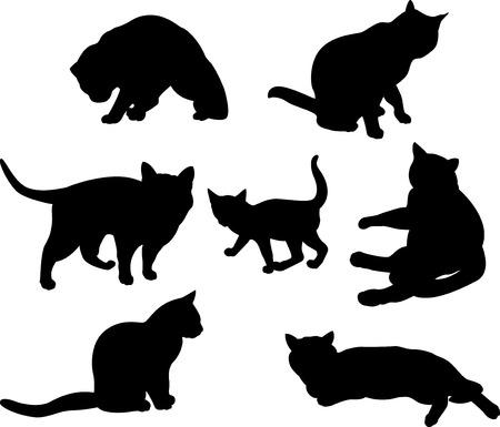 Conjunto de siluetas de gatos en diferentes poses Foto de archivo - 8985781