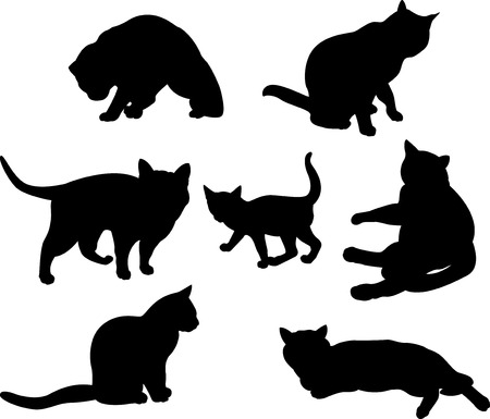 Set of cats silhouettes  in different poses Vector