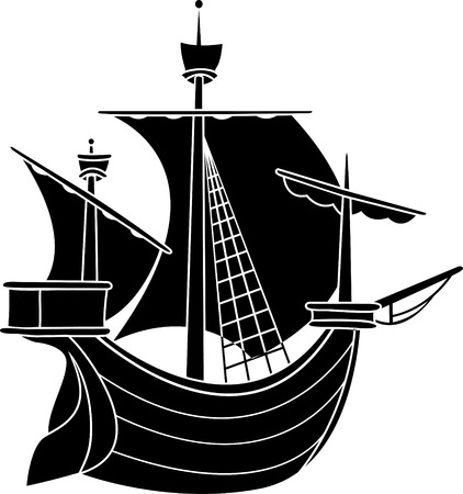 stencil art: Sailing vessel stencil vector illustration for web