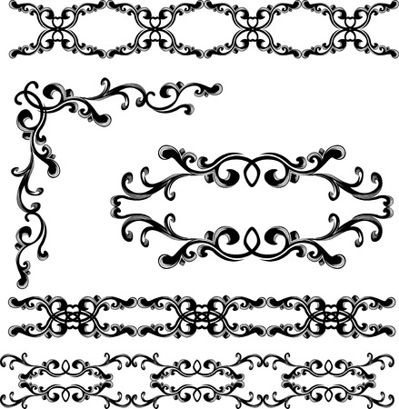 Decorative elements and borders set. stencil Vector