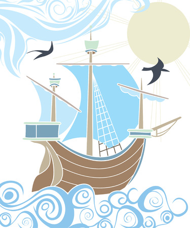 Stencil sailing vessel in the sea, the decorative image