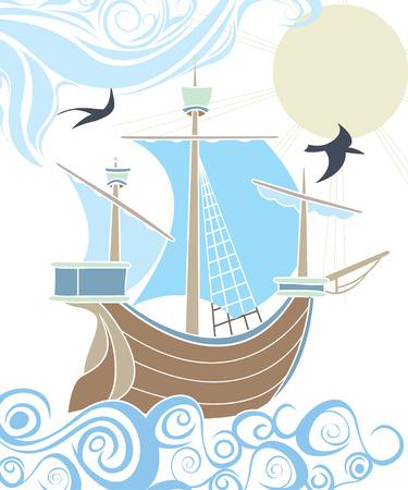 Stencil zeilschip in de zee, de decoratieve afbeelding Stock Illustratie