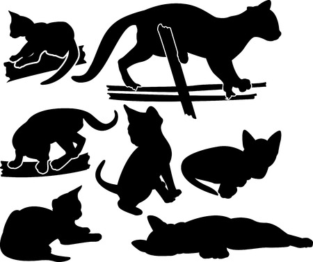 Set of kittens silhouettes in different poses Vector