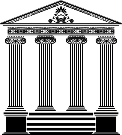 Greek temple stencil third variant with filigree ornament Vector