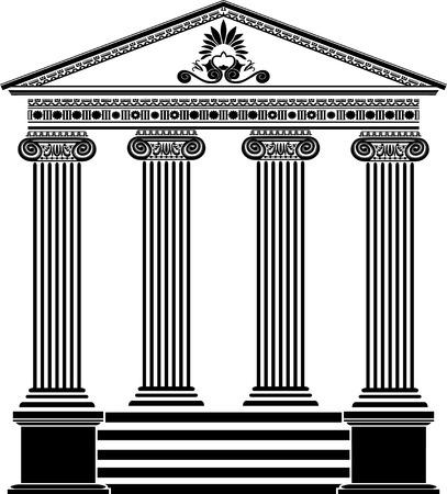 pilastri: Tempio greco stencil terza variante con ornamento di filigrana Vettoriali