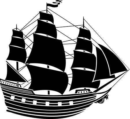 caravelle: Voile de bateau gabarit vecteur deuxi�me variante Illustration