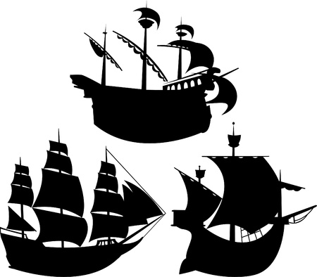 warship: Sailing vessel silhouettes set vector illustration for web