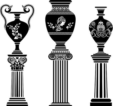 vasi greci: Antico vaso greco sulla colonna. Stencil impostare seconda variante Vettoriali