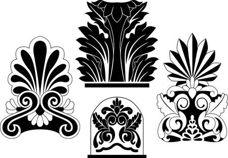 Set of traditional architectural elements stencil Vector Illustration