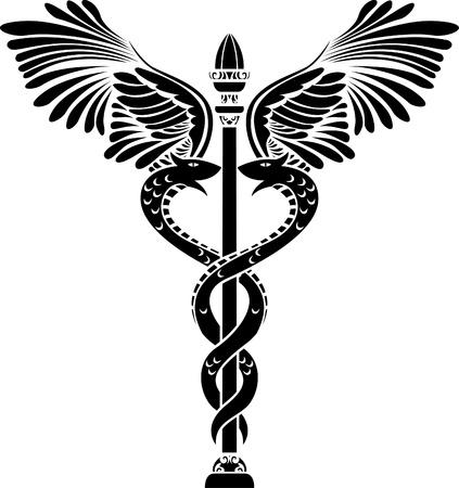 シンボル: 医療シンボル カドゥケウス シルエット