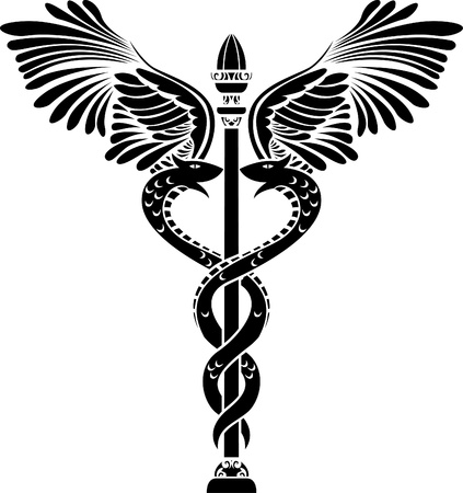 caduceus snake with stick: Medical symbol caduceus silhouette