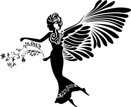 Angel met bloem stencil silhouet Stock Illustratie
