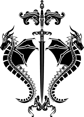 Sword and dragons stencil Vector