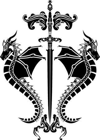 Zwaard en draken stencil Stock Illustratie