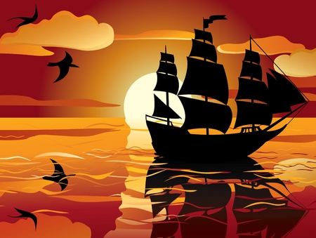 yellow boats: sunset. sailing vessel in tranquil evening sea