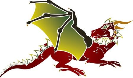 Traditional European dragon stencil Stock Vector - 9215897