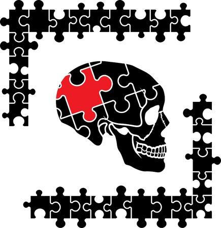 Puzzle human skull, thinking symbol Vector
