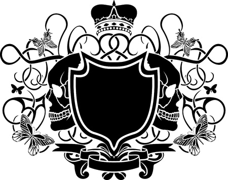 elegant arms with skull, crown and butterfly Vector