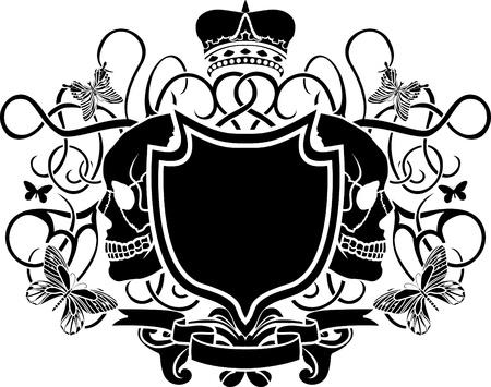 elegante armen met schedel, kroon en butterfly