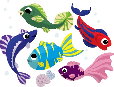freshwater fish: Bright colored cartoon fishes set