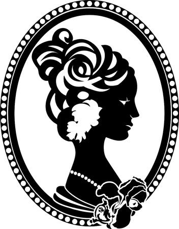 Medallón retro viñeta con perfil femenino