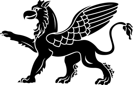 Standing griffin with lifted paw. stencil Illustration