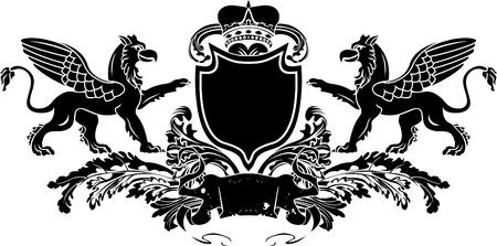 Heraldic Double Griffin Shield Crest Vector