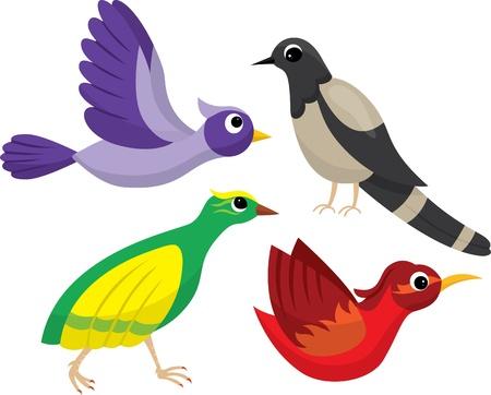 Set of bright cartoon birds Vector
