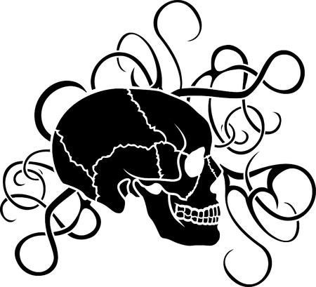 Schedel stencil tatoeage met sierlijke elementen