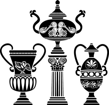 vasi greci: Antico vaso greco sulla colonna. Stencil impostare terza variante
