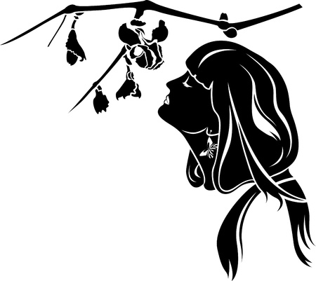 female profile with branch with flowers stencil Vector